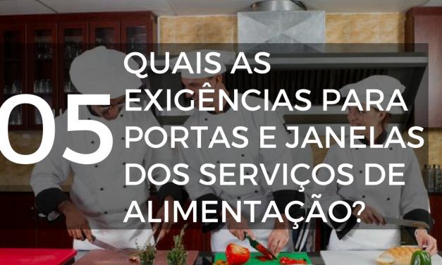 Quais são as exigências para portas e janelas dos serviços de alimentação?
